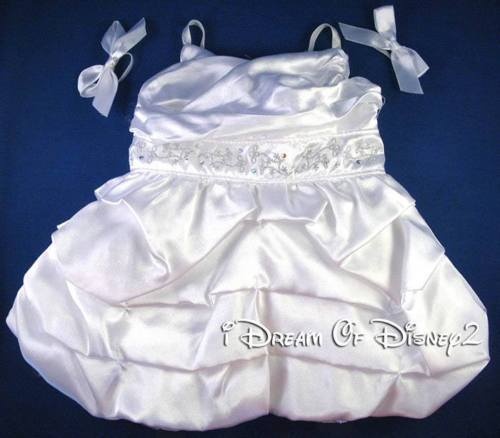 BUILD-A-BEAR WHITE SATIN BALLOON RUFFLE WEDDING PROM DRESS TEDDY CLOTHES COSTUME