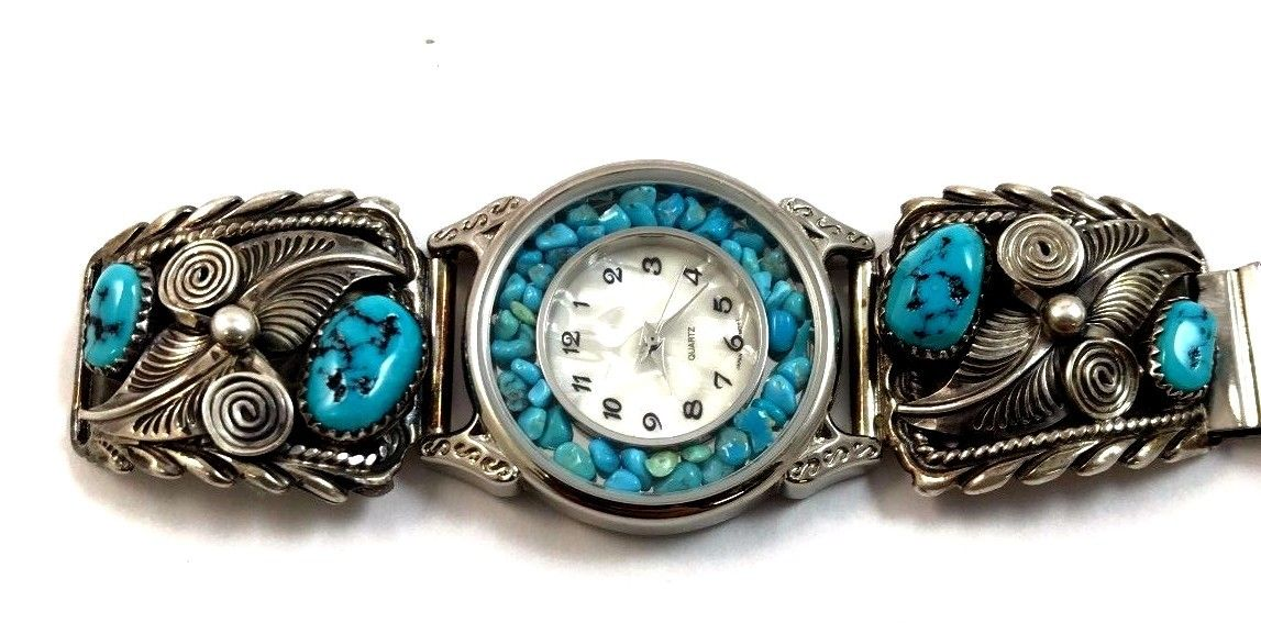 Native American Sterling Silver Turquoise Watch Tips w/ Watch & Band