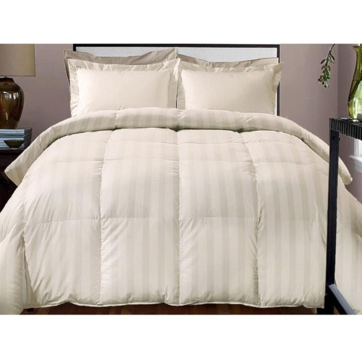 Damask Stripe Thread Count Cotton Down Full Queen King Twin Comforter