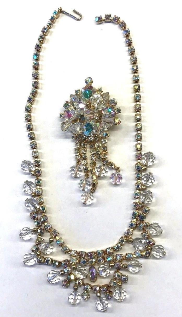 Vintage Juliana D & E Crystal AB Rhinestone Dangle Brooch Necklace Set