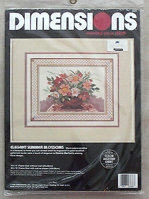 ELEGANT SUMMER BLOSSOMS COUNTED CROSS STITCH KIT DIMENSIONS 1990 NEW
