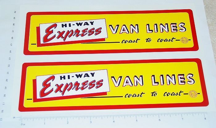 Marx Hiway Express Van Lines Panel Stickers      MX-005