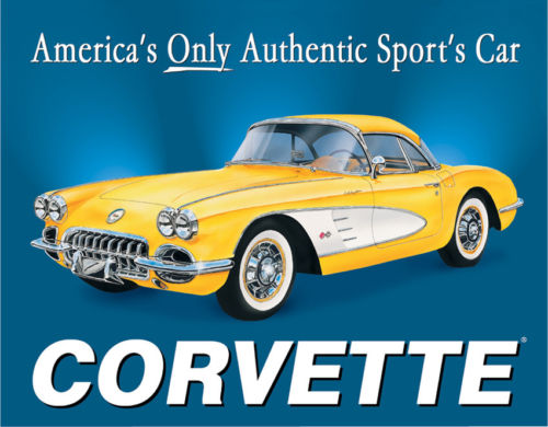 Tin Signs Chevy '58 Corvette 720 Nostalgic Emobssed Tin Sign. Reproduced from au