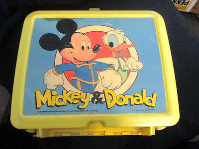 VINTAGE MICKEY MOUSE AND DONALD DUCK THERMOS AND LUNCH BOX