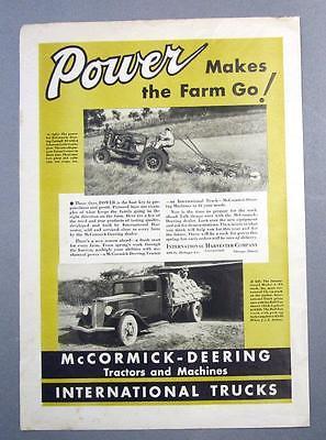 Original 1936 International C-30 Truck and Farmall 30 Tractor Little Genius Ad