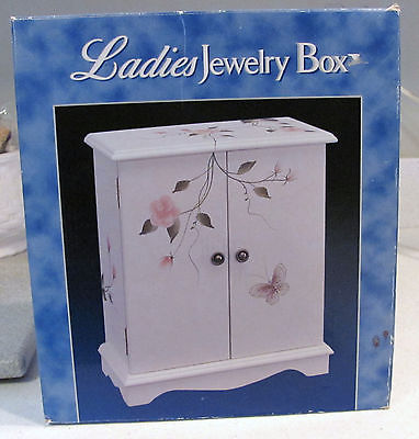 2 DOOR LADIES JEWELRY BOX~HAND PAINTED ROSE DESIGN WITH PINK LINING