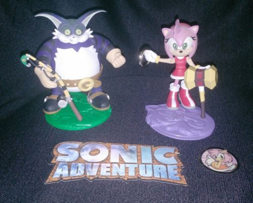 Lot of Two ReSaurus Sonic Adventure Action Figures - Amy Rose & Big the Cat
