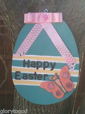 Wood Easter Egg Door Hanger, Teal, Pink and Yellow