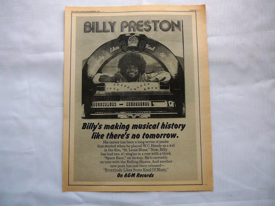 BILLY PRESTON  LARGE  LP DISPLAY AD 1973 ROLLING STONE MAG