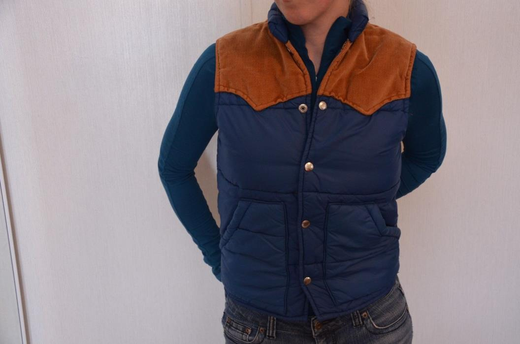 Vintage Trail Boss Western Quilted Puffer Vest Corduroy Yokes XS