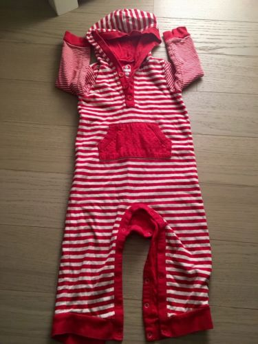 Red & White Striped Hooded PJs 18-24m