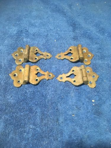 4 ANTIQUE ICE BOX SOLID BRASS HINGES 1/2