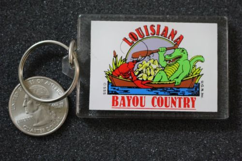 Louisiana Bayou Country Alligator Crawfish Souvenir Keychain Key Ring #15048