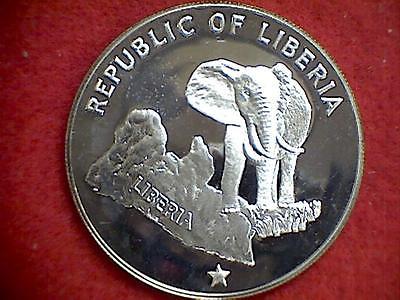 1973 Republic Of Liberia Five Dollars Proof .900 Silver $5