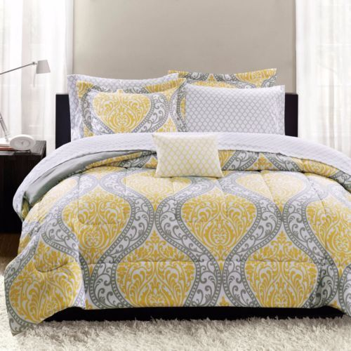 QUEEN & KING Yellow/Gray DAMASK COMPLETE COMFORTER Set 8 Pc Bedspread Bedding