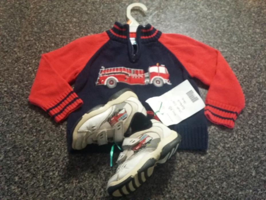 toddler boys 2t hartsrings knit Sweater & stride rite sz 8 shoes FIREFIGHTER lot