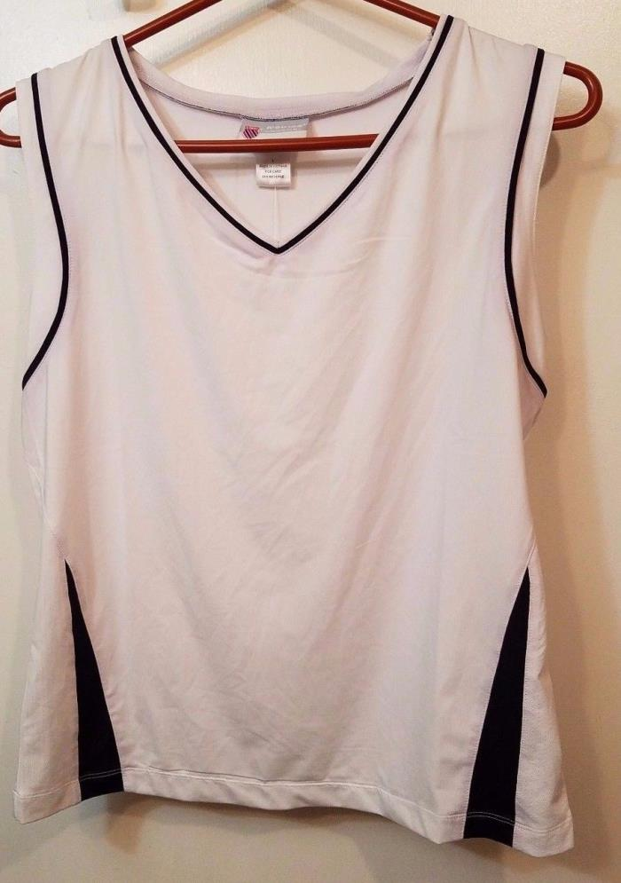 Women's K-Swiss Tennis Accomplish Sleeveless Top White/Navy Size Large NWT