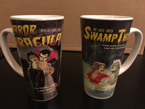 Mulberry Movie Poster Mugs Lot Dracula and Swamp Thing