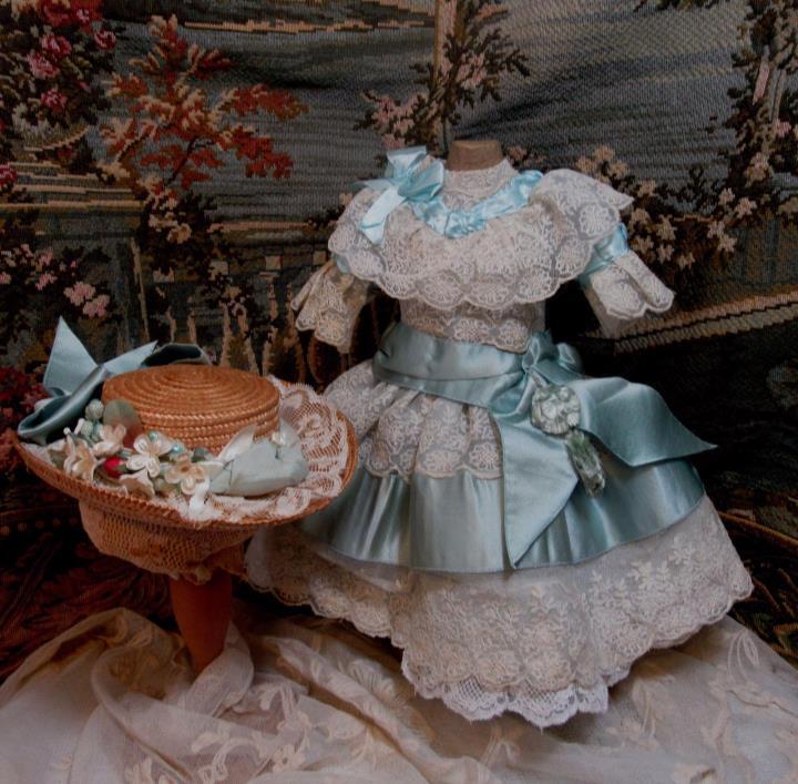 Enchanting Antique Lace & Silk Doll Dress & Bonnet