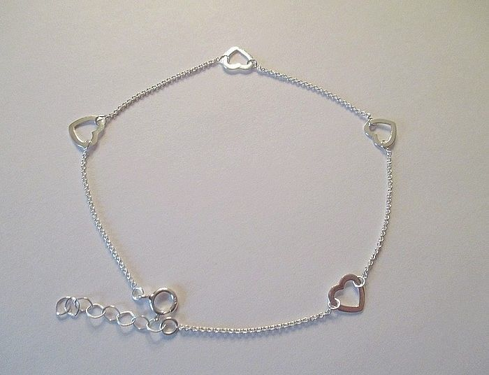 Adorable Anklet Solid Sterling Silver w Hearts