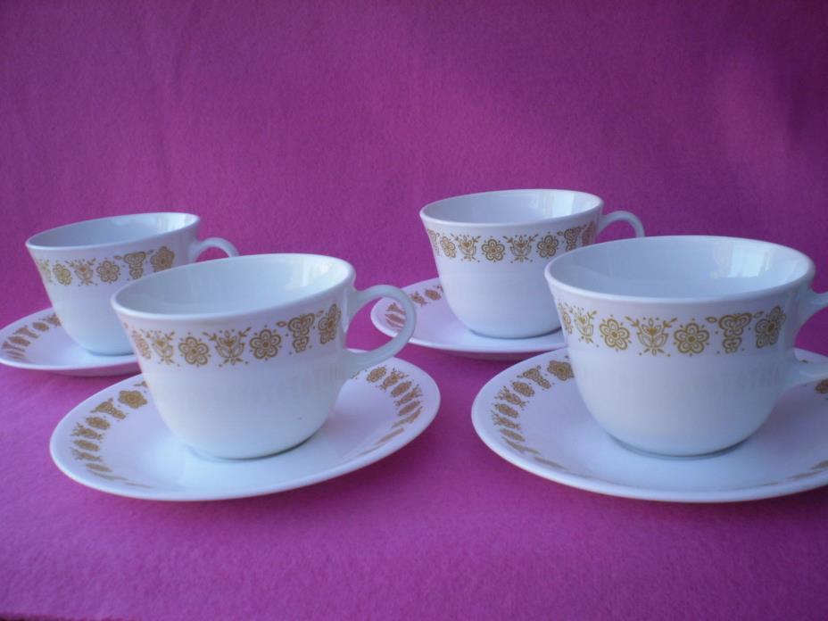 Corelle Dishes Butterfly Gold Centura Livingware Cups & Saucers 4 Sets