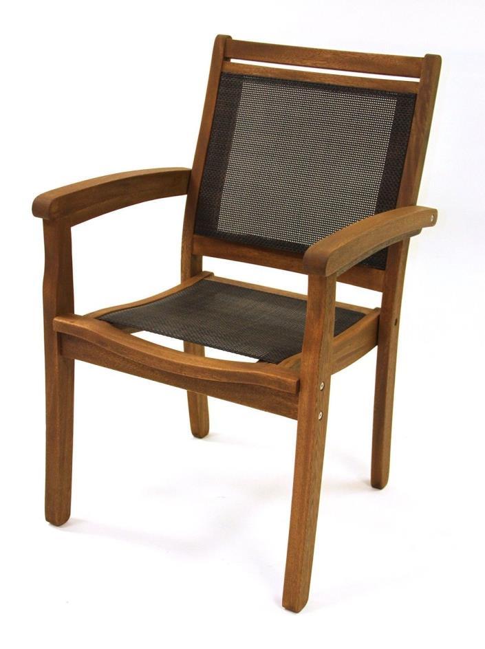 Outdoor Stackable Arm Chair Brown Eucalyptus Patio Garden Backyard Furniture