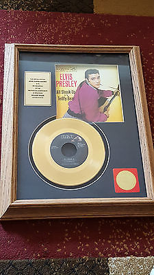 ELVIS PRESLEY 'ALL SHOOK UP' 24K GOLD SINGLE 447-0618 RECORD FRAMED PICTURE