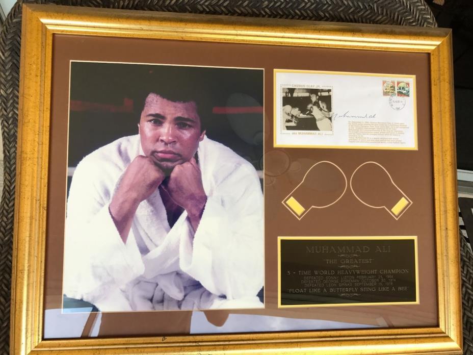 Muhammad Ali Autographed Commemorative Postcard Plaque Framed