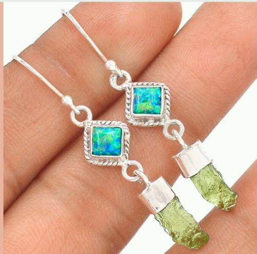 Healing stone Moldavite & Fire Opal 925 solid Silver Earrings Jewelry