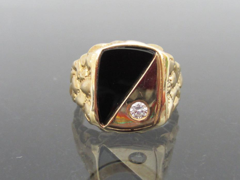 Vintage Mens 14K Solid Yellow Gold Diamond & Black Onyx nugget Ring Size 11