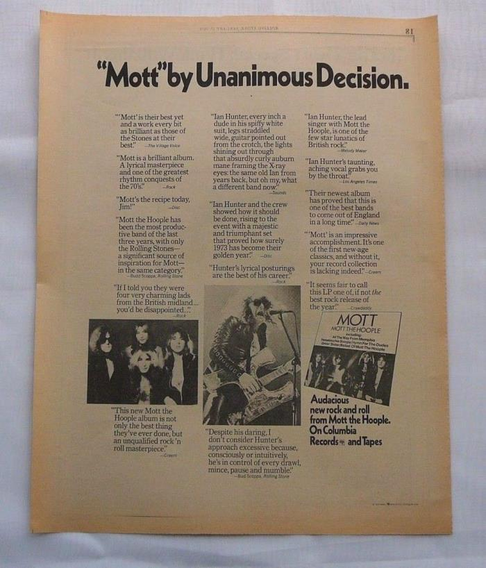 MOTT THE HOOPLE  LARGE  LP DISPLAY AD 1974 ROLLING STONE MAG