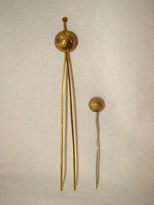 Antique Japanese KANZASHI Ornamental PIERCED BRASS Hair Pin, Chrysanthemum