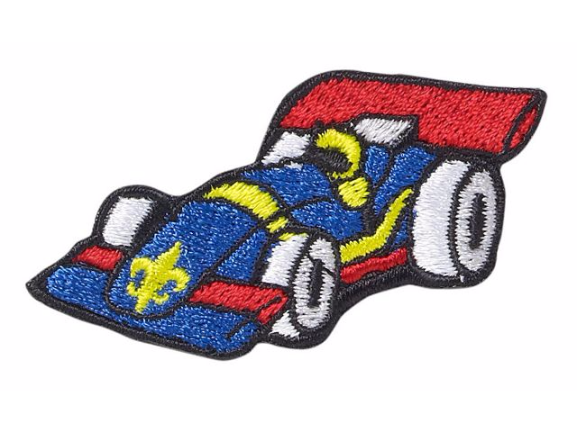 BOY SCOUT CUB PINEWOOD DERBY BLUE CAR EMBROIDERED HAT LAPEL PIN JAMBOREE CAMP
