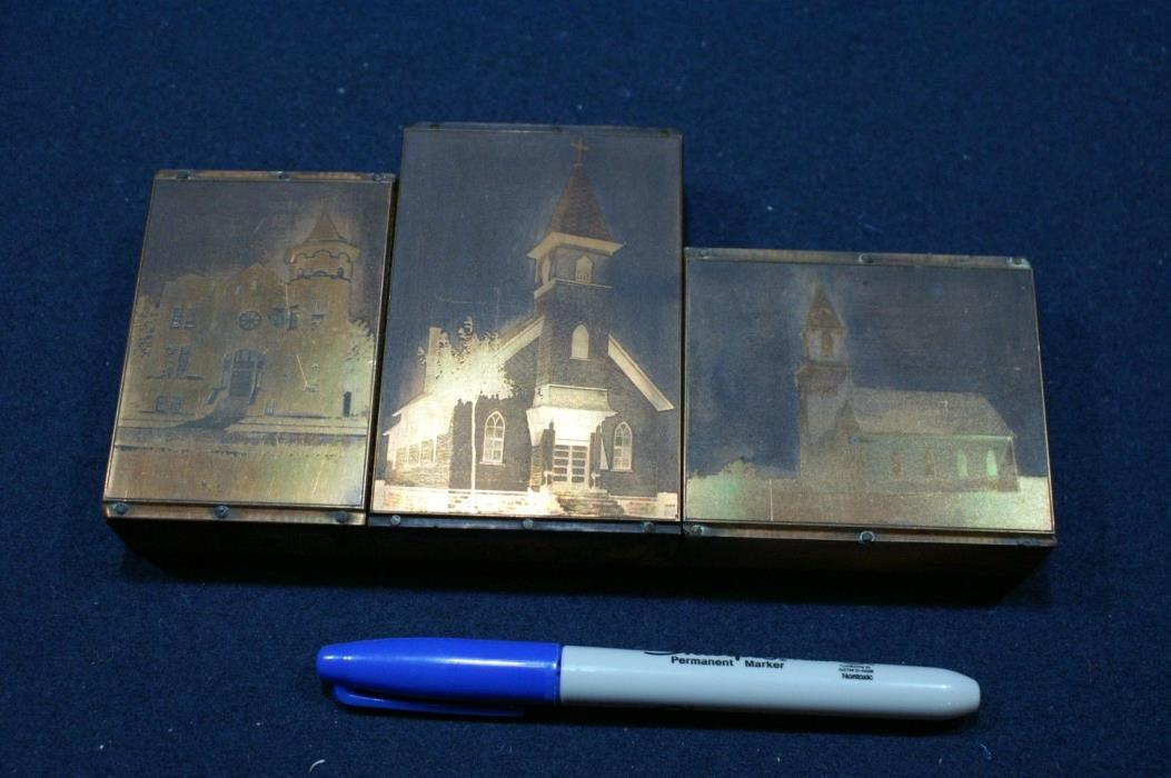 Vintage Keewenaw copper newspaper printing blocks-churches