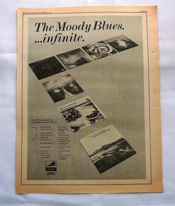 MOODY BLUES   LARGE  LP DISPLAY AD 1973 ROLLING STONE MAG  W/ TOUR DATES