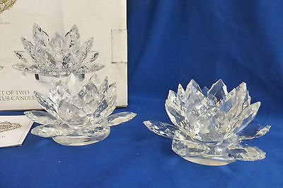 Shannon Crystal Lotus Candle Holder Set of Two Original Box