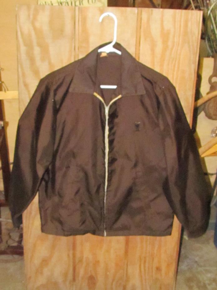 Vintage Metropolitan Brown Police Officer Detroit MI Zip Up Jacket Badge Holster