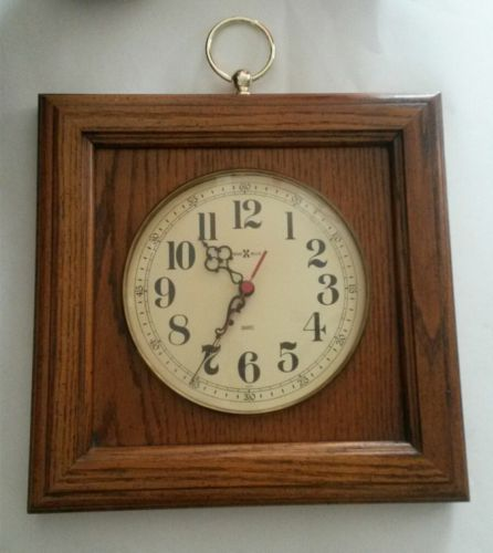 Vintage Howard Miller Square Wood Hanging Quartz Wall Clock