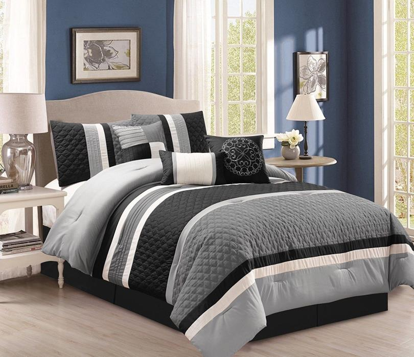 7-Pc Boston Quilted Stripes Pleated Bed-In-A-Bag Comforter Set Gray