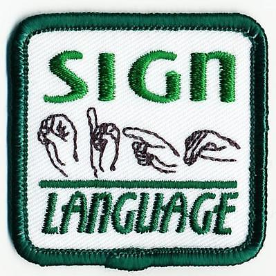 Girl Boy Cub SIGN LANGUAGE green Fun Patches Crests Badges SCOUT GUIDE Signing