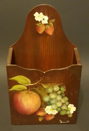 *VINTAGE* WOOD LETTER BILL MAIL WALL HOLDER HANDPAINTED BLACK WITH FRUIT DESIGN