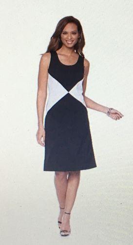 Slinky Brand Sleeveless Colorblock A-Line Dress-Size Medium
