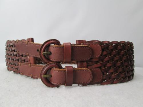 Abercrombie Fitch Wide Braided Brown Leather Belt Double Buckle Sash Small 34