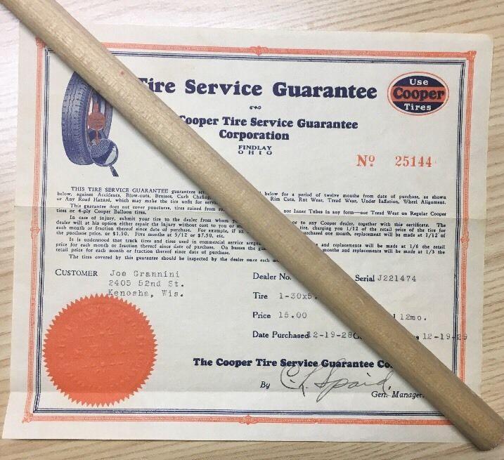 Vintage Ad Original Cooper Tire Service Guarantee Corporation 1928 Findlay OH