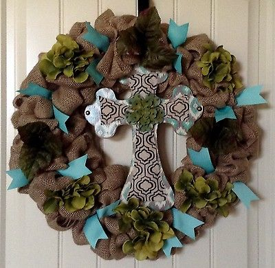 Burlap Wreath - Olive Hydrangea Cross Wreath - Country Home Decor