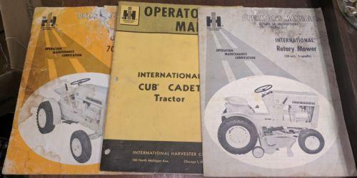 Lot Vtg IH Cub Cadet 70 100 Tractor Operators Manual Brochure Rotary Mower Books