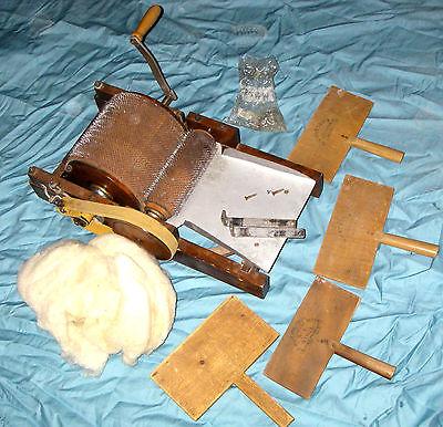 Vintage Original Wool Drum Carder Machine, 4 Wool Carders, Clamps & Wool