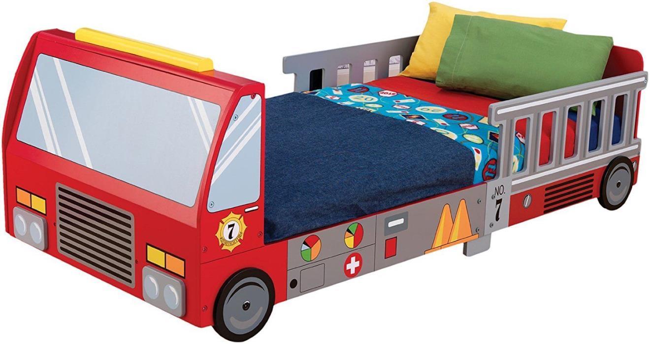 Fire Truck Modern Toddler Bed Convertible Kids Children Wood Bedroom Furniture