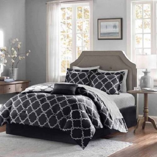 Home Essence 9 Pc Complete Queen Size Bed Set Black Microfiber Geometric Design