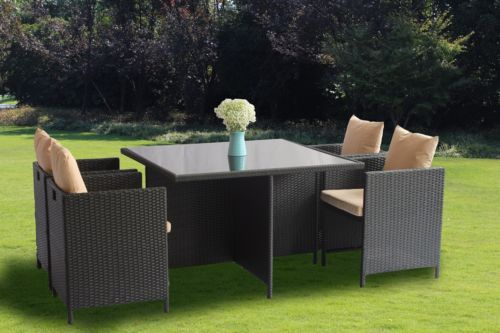 Outdoor Patio Wicker Furniture Square Cube Rattan Garden Desk Chairs Dining Set
